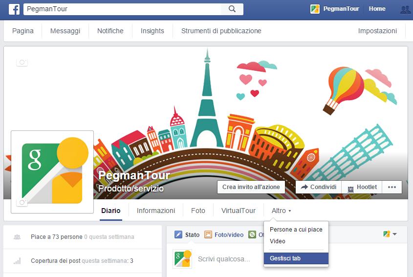 tab - implementare tour virtuale su facebook